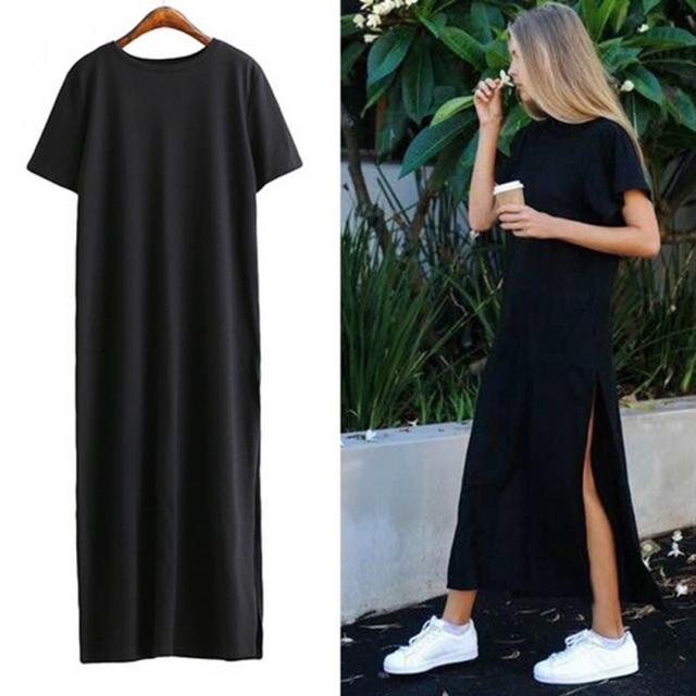 Maxi T Shirt Dress Women Summer Beach Sexy Kim Kardashian Ukraine Kyliejenner Linen Bohemia Long Black Bodycon Dresses Plus Size 1
