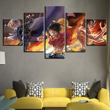 5 Pieces Cartoon One Piece Modular Picture Modern Home Wall Decor Canvas Art HD Print Anime Character Painting On Artwork