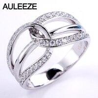 AULEEZE настоящие алмазные золотые кольца для женщин 18 К Твердые белые золотые натуральные бриллиантовые обручальные кольца твист Pave Band Fine