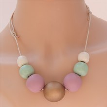 1pc Colorful Wooden Necklace Nature Wood Ball Wrap Rope Chain Bohemian Style Choker Statement Jewellry