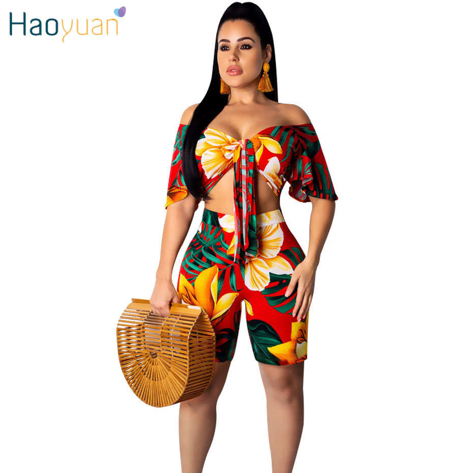 HAOYUAN Sexy Two Piece Set Women Off Shoulder Crop Top and Shorts Suit Summer Club Outfits 2 Pcs Matching Sets Festival Clothing