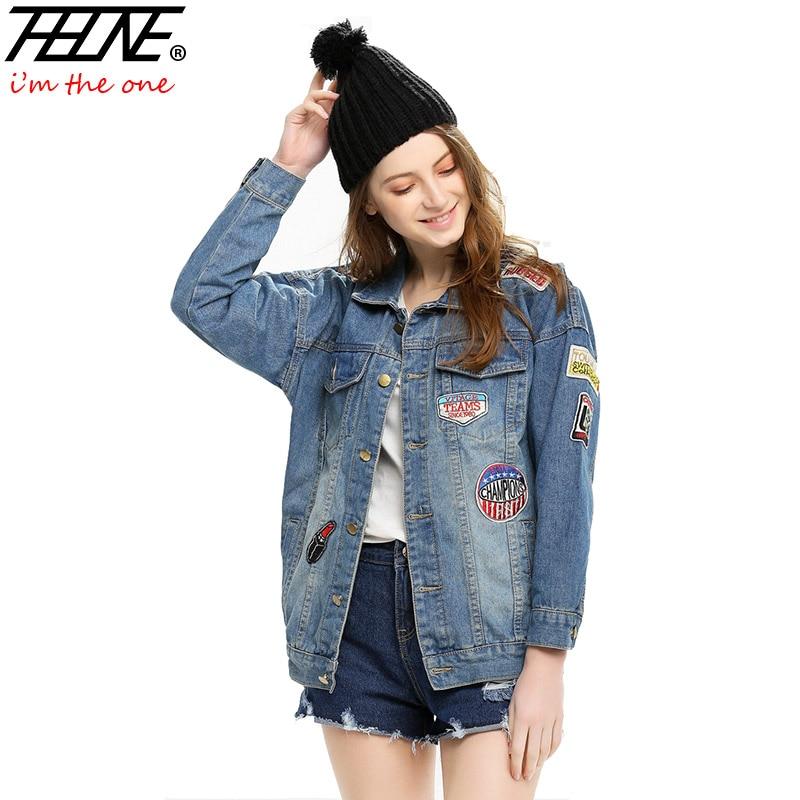 thhone boyfriend denim jackets women jean coat vintage outwear autumn patch designs oversized. Black Bedroom Furniture Sets. Home Design Ideas