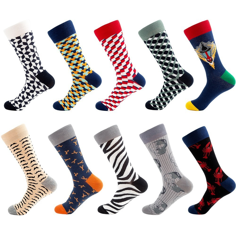 PEONFLY 2019 Hot Sale Casual Men Socks New Socks Fashion Design Plaid Colorful Happy Business Party Dress Cotton Socks Men