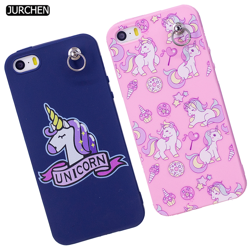 JURCHEN Unicorn Phone Case For iPhone 5S Case Silicone Cute Cartoon Back Cover For iPhone 5 SE Case Cover Luxury Soft Coque Etui