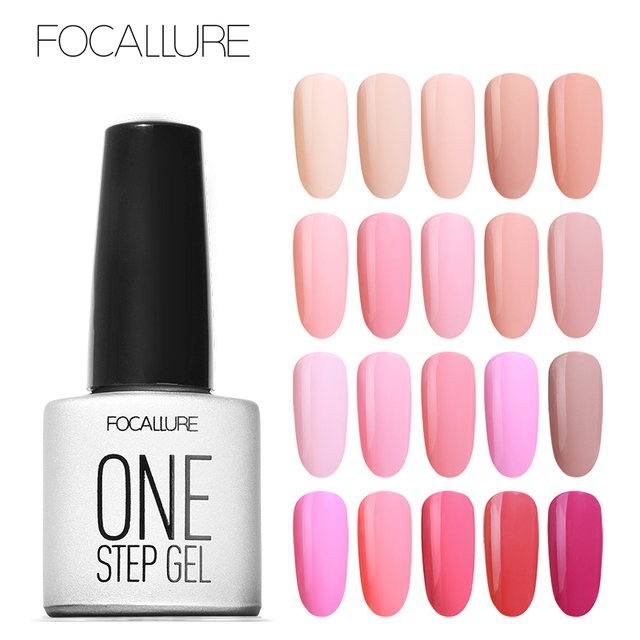 FOCALLURE One Step Gel Nail Polish 3 in 1 UV Gel Manicure Nail Art ...