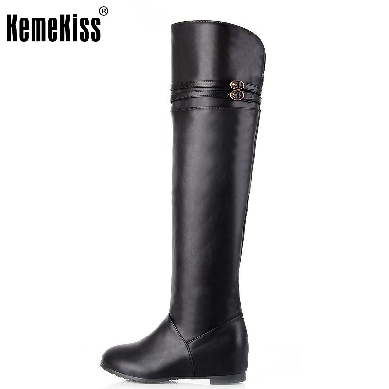Free shipping knee boots women fashion snow winter footwear wedge shoes sexy warm long boot P8689 EUR size 30-43