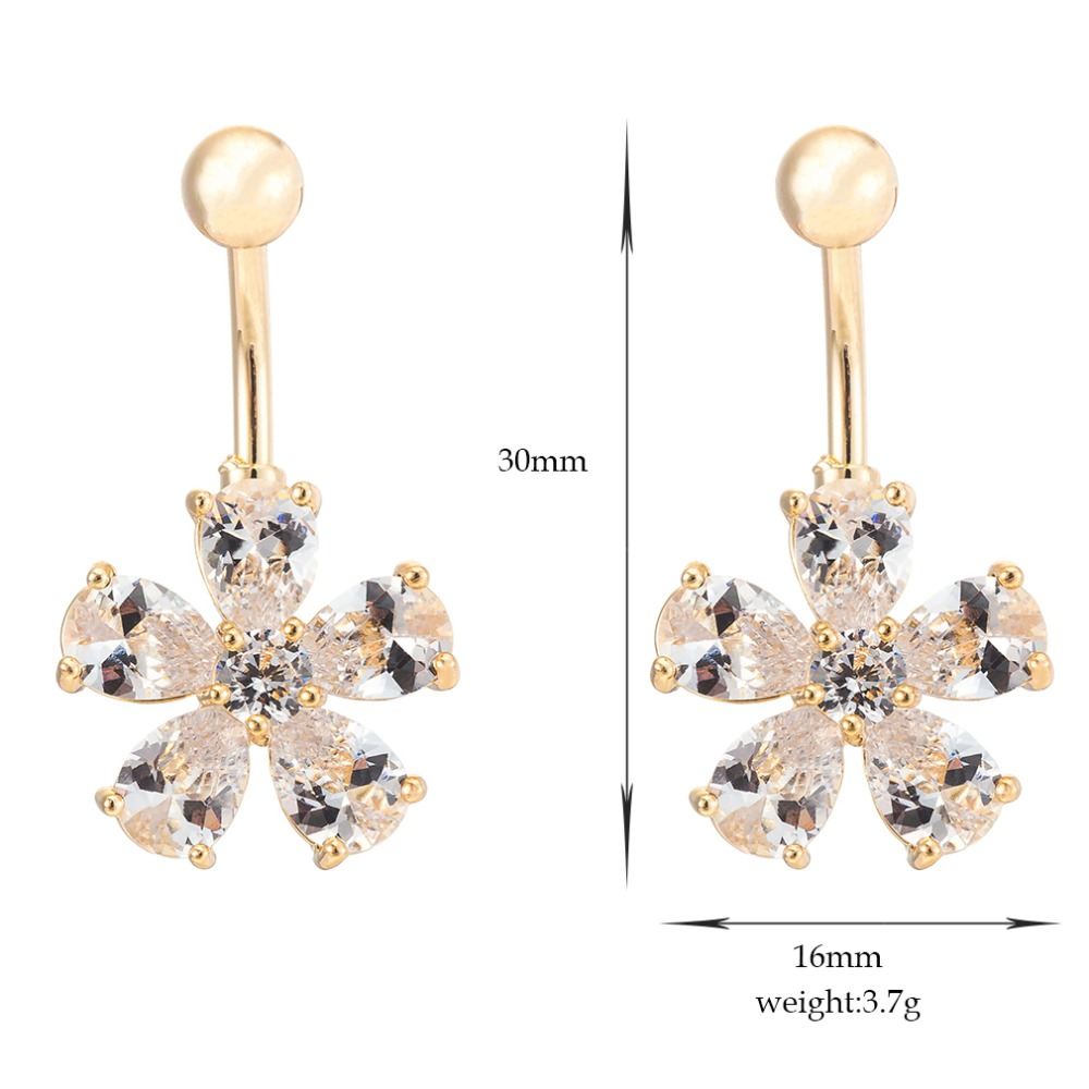 CZ Crystal Flower Body Jewelry Sexy Dangle Belly Button Rings Belly Piercing Navel Piercing Rings Button Piercing Bijoux Jewelry in Body Jewelry from Jewelry Accessories