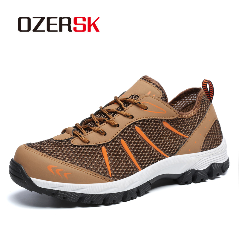 OZERSK New Breathable Safety Shoes Men's Lightweight Outdoor Shoes Summer Hollow Men Casual Shoes Mesh Sneakers 39-48