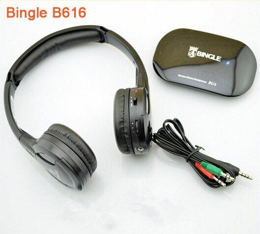 B616 Bingle Preto Venda Quente 5in1 fone de Ouvido Sem Fio do Fone de ouvido de Alta Fidelidade Do Monitor FM DJ MIC para PC TV DVD Chating Voz de Áudio Móvel