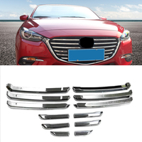Car Styling Exterior For Mazda 3 AXELA Hatchback Sedan 2017 2018 ABS Chrome Front Central Grille Grill Sticker Cover Trim