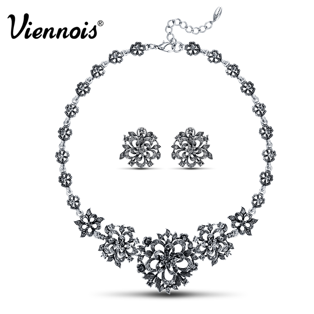 Viennois Coffee Gold/Vintage Silver Color Bridal Jewelry Sets For women Hollow Flower Necklaces Earrings Set Rhinestone Jewelry pair of sweet rhinestone hollow flower design earrings for women
