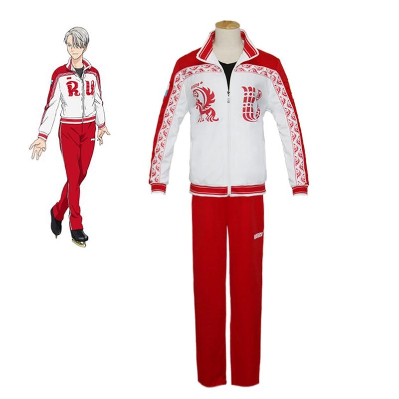 YURI!!!on ICE Victor Nikiforov Cosplay Costumes Jacket Pant Set Sportswear Coat