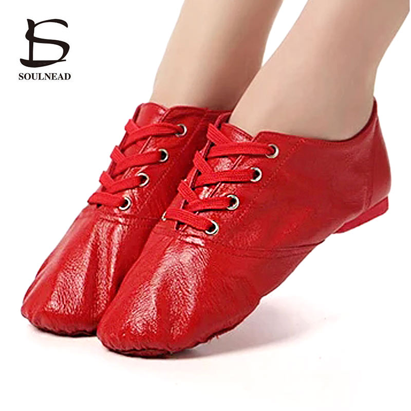 Genuine Leather Women/Men Jazz Dance Shoes Flats Lace-up Child Girls Ballet Dance Shoes Red/Black/White Indoor Yoga Fitness ShoeGenuine Leather Women/Men Jazz Dance Shoes Flats Lace-up Child Girls Ballet Dance Shoes Red/Black/White Indoor Yoga Fitness Shoe