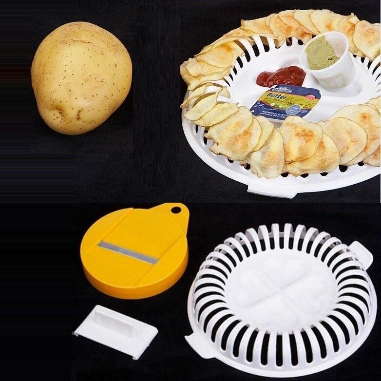 Микроволновая печь для приготовления жировых картофельных чипсов Яблоко Фрукты Картофель хрустящие чипсы слайсер закуска DIY Набор Поднос кухонный инструмент случайный цвет