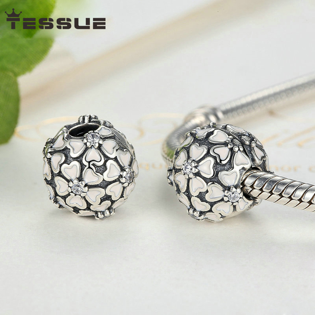a783721ef Tessue 100% 925 Sterling Silver Cherry Blossom Clip Charms Fit Original Pandora  Bracelet Authentic DIY Jewelry Gift Charm