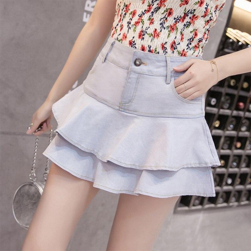 Thin Gray Student Culottes Blue Spring A line Cake 2018 Bust Brand Denim Female Summer Rubu All white Skirt Anti royal New match gCxcwq8f6U