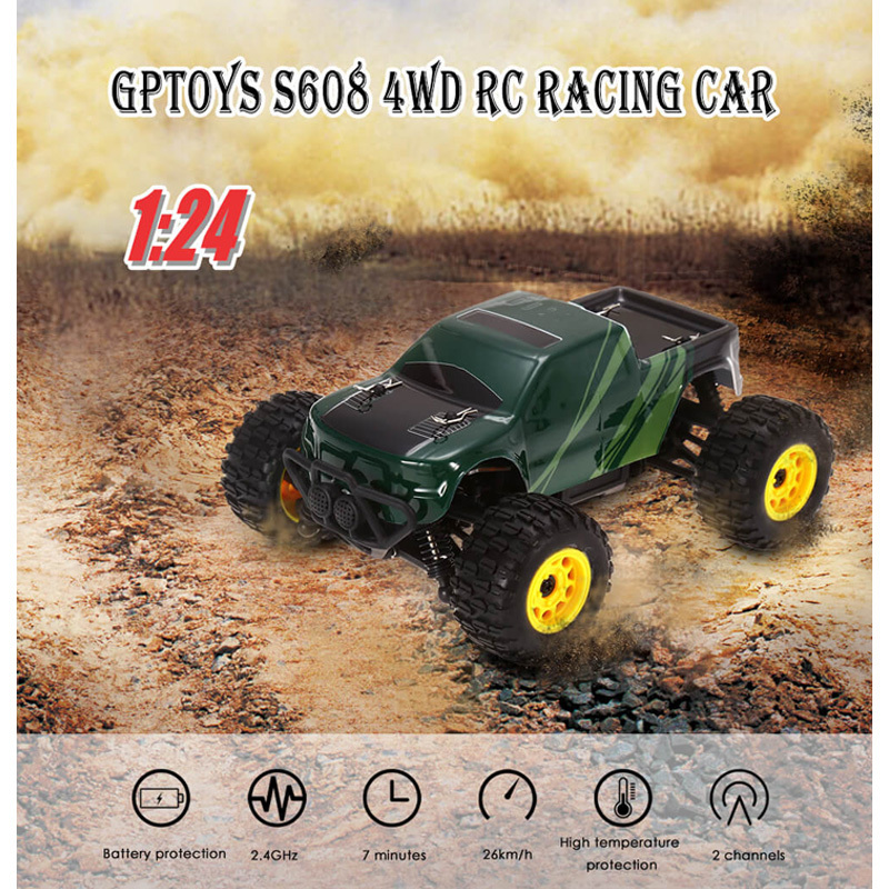 New High Speed RC Cars 1:24 Full Proportional 2CH 2.4GHz 4WD Brushed RC Racing Car Remote Control Model Vehicle Toys For Gifts