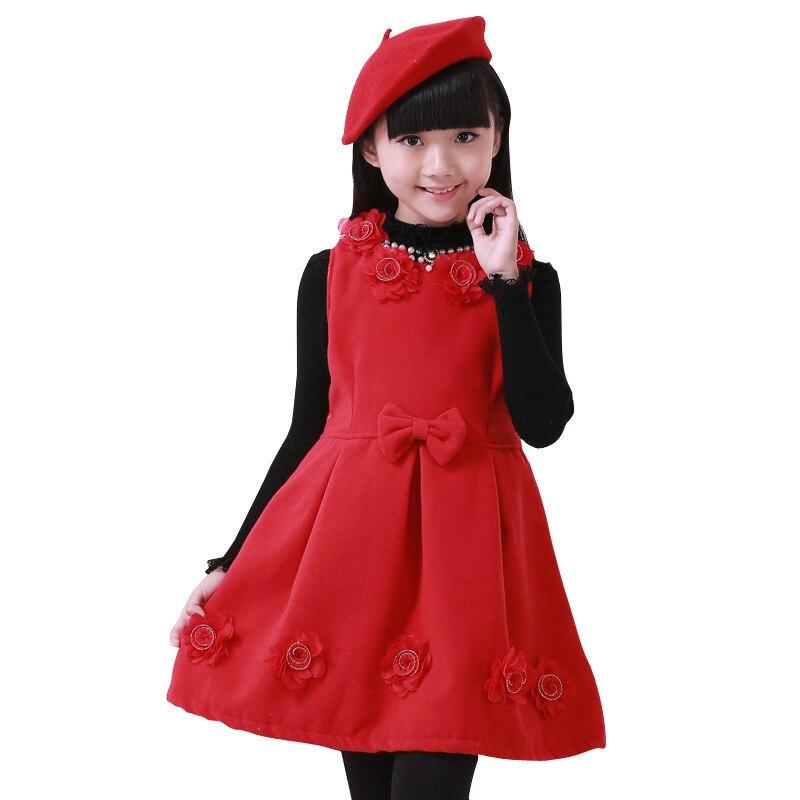 Girls Vest Dress For Children Clothing Fashion Princess Dress Spring/Autumn Kids Baby Party Garment Child Woolen Dress Clothes girls woolen vest dress winter autumn