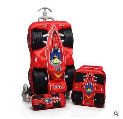 Boy s Car trolley case Boys Rolling Bag 3D stereo Cartoon Children Travel suitcase Lunch bag