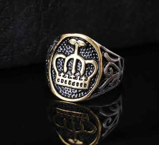 Moda stal nierdzewna vintage biżuteria pierścień król królowa korona kształt styl ciężkich metali Punk Rock pierścienie dla kobiet mężczyzn prezent