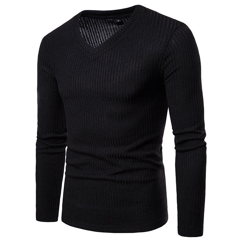 M-XXL Sweater Men 2018 New Arrival Casual Pullover Men Autumn V Neck Solid Quality Knitted Brand Male Sweaters Plus Size