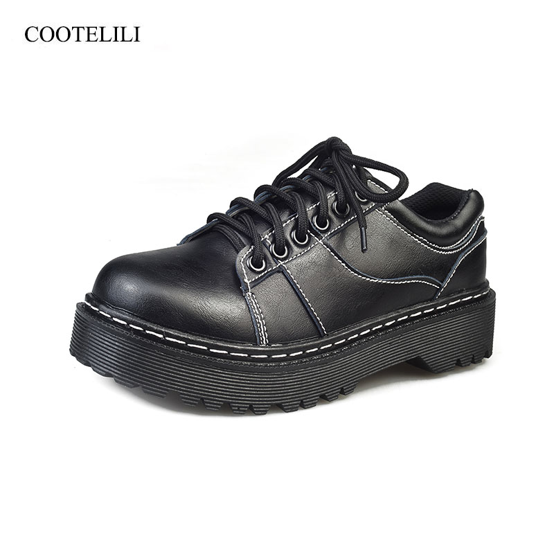 COOTELILI Fashion PU Leather Flat Shoes Red Black Platform Shoes Ladies Lace Up Flats Casual Girls Shoe Creepers 35-40 rihanna pu leather creepers flat platform shoes woman 2016 casual loafers black pink flats lace up women shoes