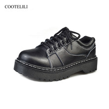 COOTELILI Fashion PU Leather Flat Shoes Red Black Platform Shoes Ladies Lace Up Flats Casual Girls Shoe Creepers 35-40