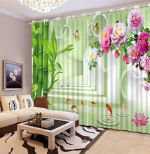 Custom curtains bamboo peony window curtain for living bedroom curtain patterns home curtains decoration