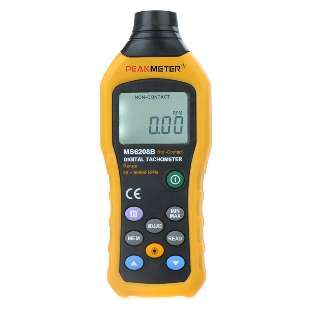 PEAKMETER MS6208B Non-Contact Digital Tachometer Speedometer 50RPM~99999RPM mastech ms6208b lcd digital laser photo tachometer rpm meter non contact tacometro rotation speed 50rpm 99999rpm data storage