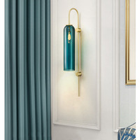 Art Deco blue and white glass tube wall light living room bedroom hotel lobby wall lamp