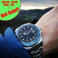 Парнис 40 мм Мужские автоматические часы тритий деловые часы керамика дайвинг 100 м сталь mekanik erkek коль saati reloj automatico