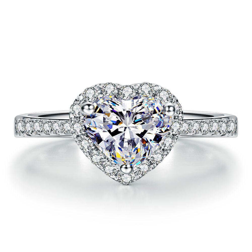 bague or blanc coeur diamant