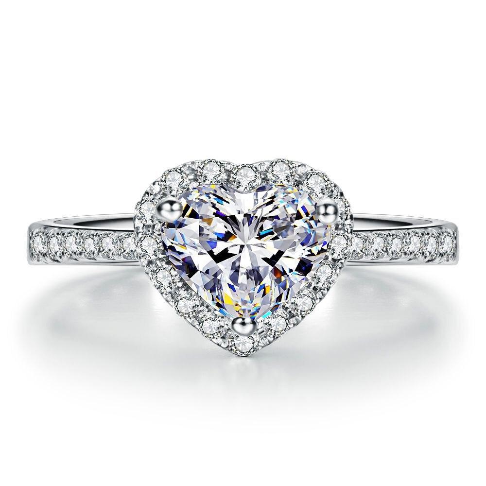 0.45CT FG/SI Diamante Anillo de Compromiso Del Corazón Para Las Mujeres Joyería Fina