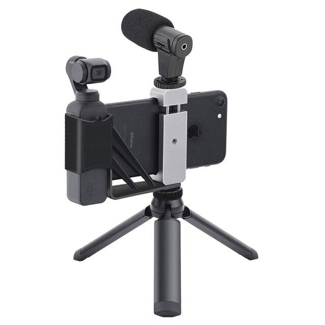 ل Osmo جيب حامل هاتف طوي محول كليب Selfie جبل المعادن ترايبود ل DJI جيب 2 يده كاميرا ذات محورين اكسسوارات