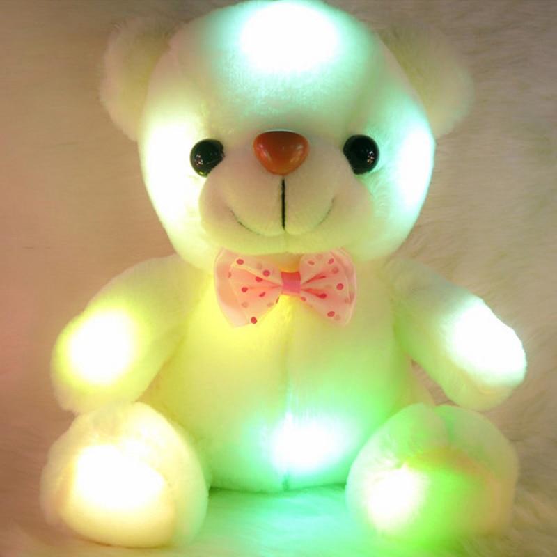 1pc 25cm Luminous Plush Teddy Bear Toys Gleamy Animal Doll Shinning Doll დაბადების დღე საჩუქარი Glowing Animal Toys საბავშვო საჩუქარი