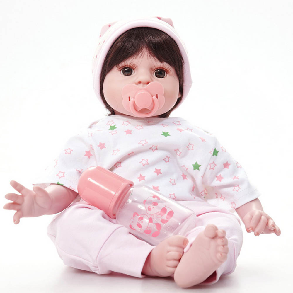 50cm Silicone Soft Realistic Reborn Baby Doll 20 inches Lifelike Girl Newborn Babies Cloth Body Toy Kids Birthday Xmas Gift 22 inches soft silicone reborn baby dolls cloth body real looking newborn alive girl babies boneca toy kids birthday xmas gift