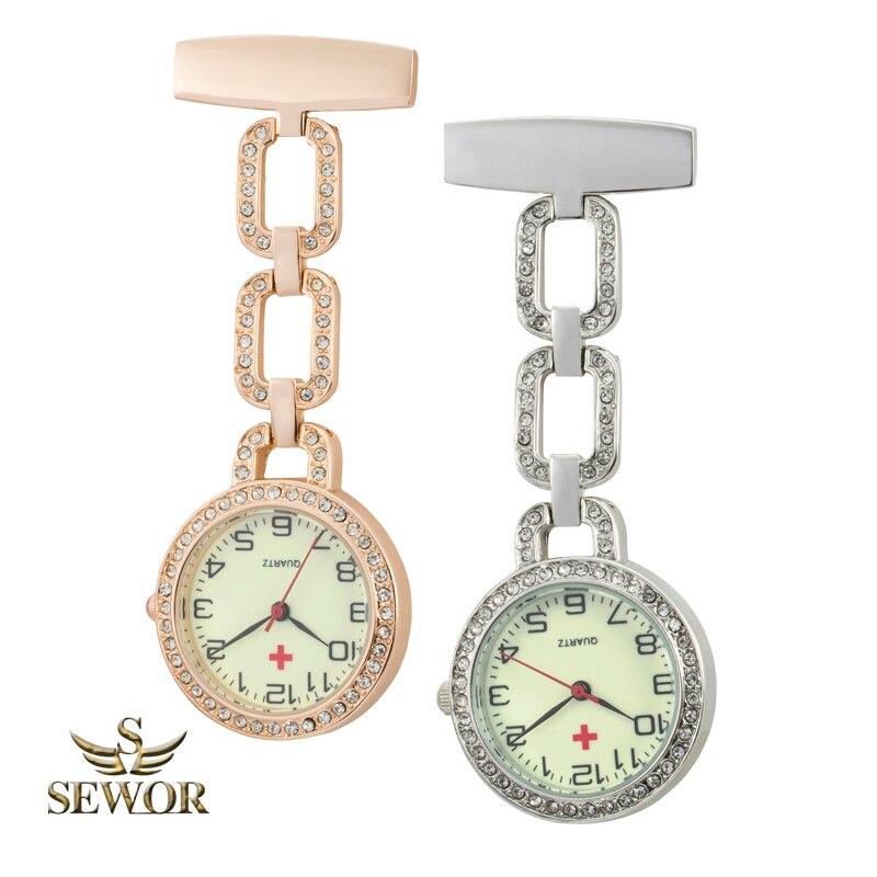 SEWOR Luxury Brand 2018 Triple Chain Buckle Crystal Quartz Nurse Pocket Watch C254