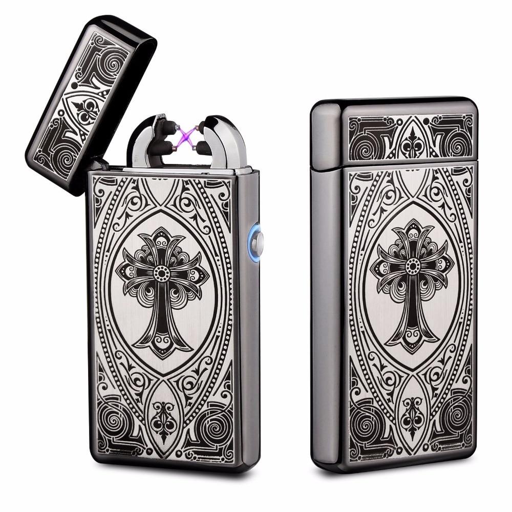 Metal Double Arc Cigarette Plasma Lighter Cigar USB Lighter Without Flame Windproof Cigarette Pulsed Electronic Lighter