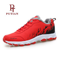 PU TIAN Winter Plush Warm Unisex Running Shoes Men Women Outdoor Sports Trainer Shoes New Athletic