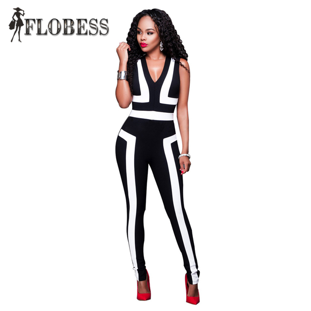 NEW Fashion Summer Sexy Sleeveless V-Neck Jumpsuits for Women Elegant Bodycon Night Clubwear Black and White Rompers Plus Size