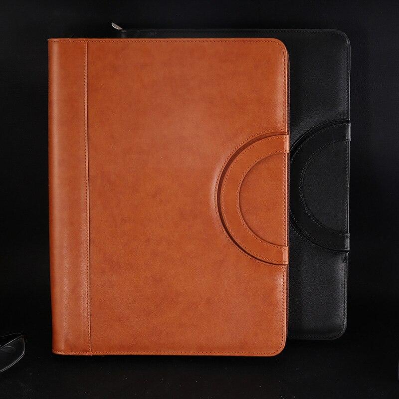 A4 Multifunctional Folder Pu Leather Zipper Bag For Notebook Business Travel Xxm8
