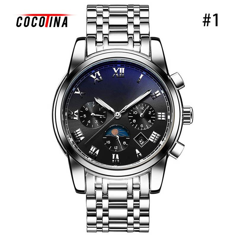 COCOTINA Mens Watches Top Brand Luxury Automatic Mechanical Watch Sapphire Waterproof Calendar Stainless Steel LSB01177 stainless steel sapphire relogio mens watches top brand luxury waterproof 2017 switzerland automatic mechanical men watch b5005