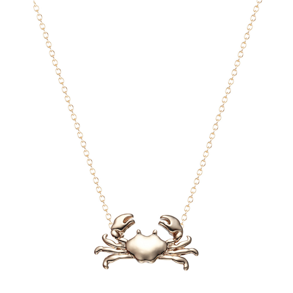 Kinitial 10Pcs Silver Gold Cute Maryland Crab Pendant Necklace Cancer Zodiac Necklace & Pendant Horoscope Sign On 16 Chain