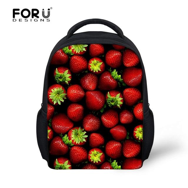 FORUDESIGNS 3D Fruit Strawberry Kids School Bags For Little Girls Book Children Schoolbag Satchel Toddler