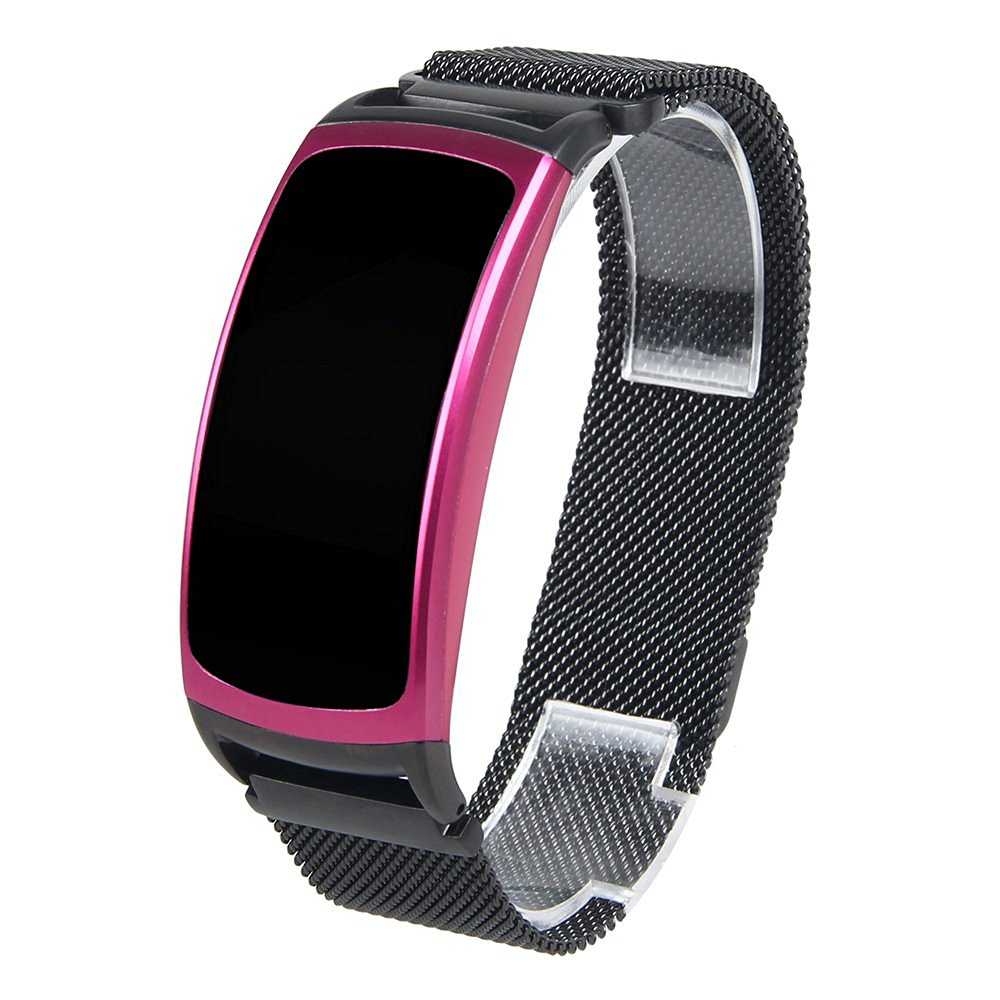 Black Band For Samsung Gear Fit 2 Fit2 SM-R360 Large Smart Watch Milanese Loop Stainless Steel Band With Unique Magnet Clasp