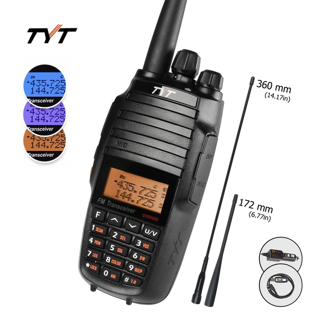 TYT UV8000E Handheld Transceiver Dual Band 10W Cross band Repeater Black Tri Power 3600mA Transceiver Radio Walkie Talkie Cable