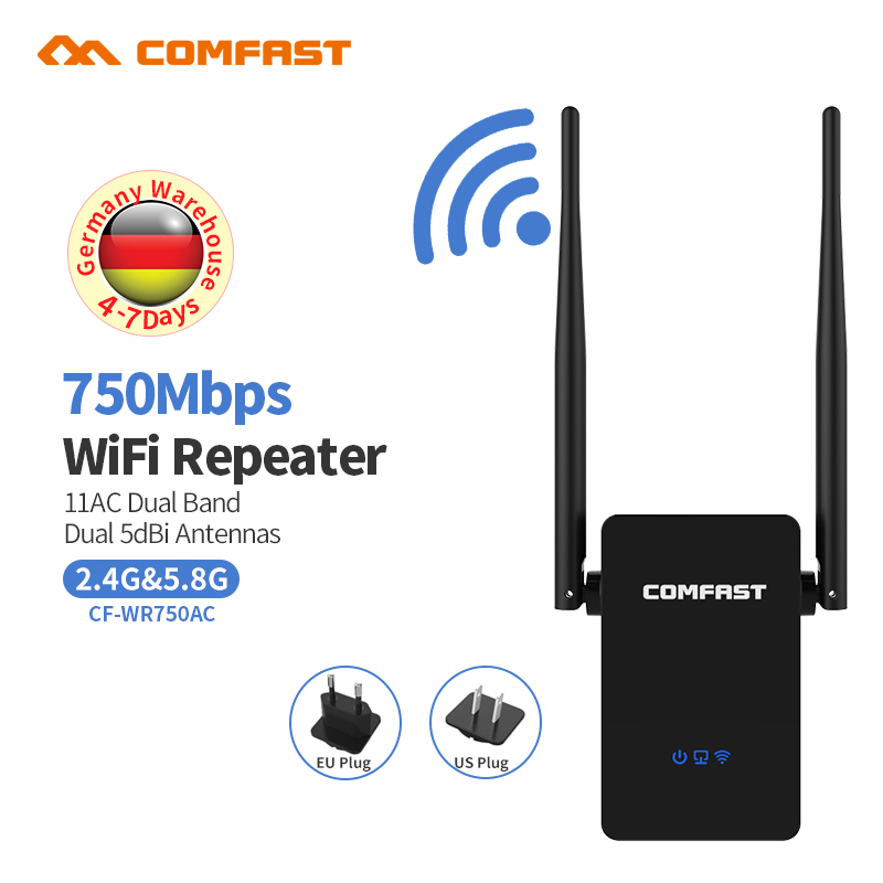 Mini Wifi Repeater 750Mbps Dual Band Wireless Network Repeater 10dBi Antenna Wifi Signal Booster 802.11ac bridge cf-wr750acv2