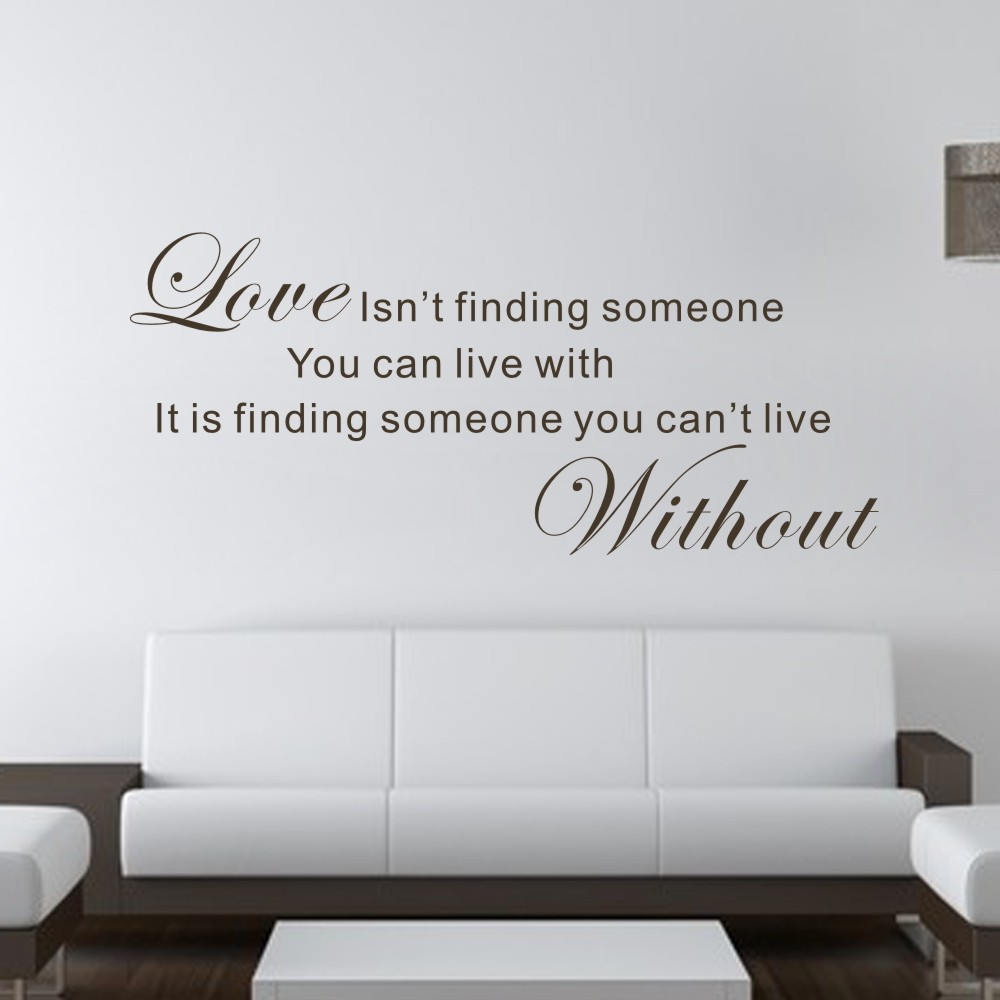 Love is Find One Cant Live Without - Romantic Vinyl Wall Decal Hand Lettered Design Room ...