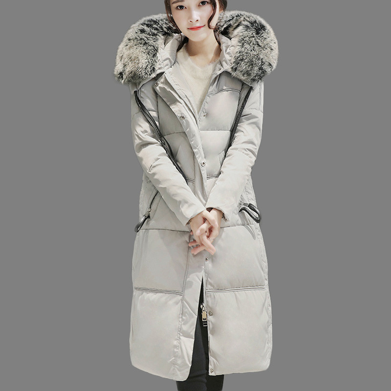 -20 C Winter Down Jackets 2016 Women Long Warm Loose Fur Collar Hooded Female Solid Color Coat Parkas Snow Outerwear AA164