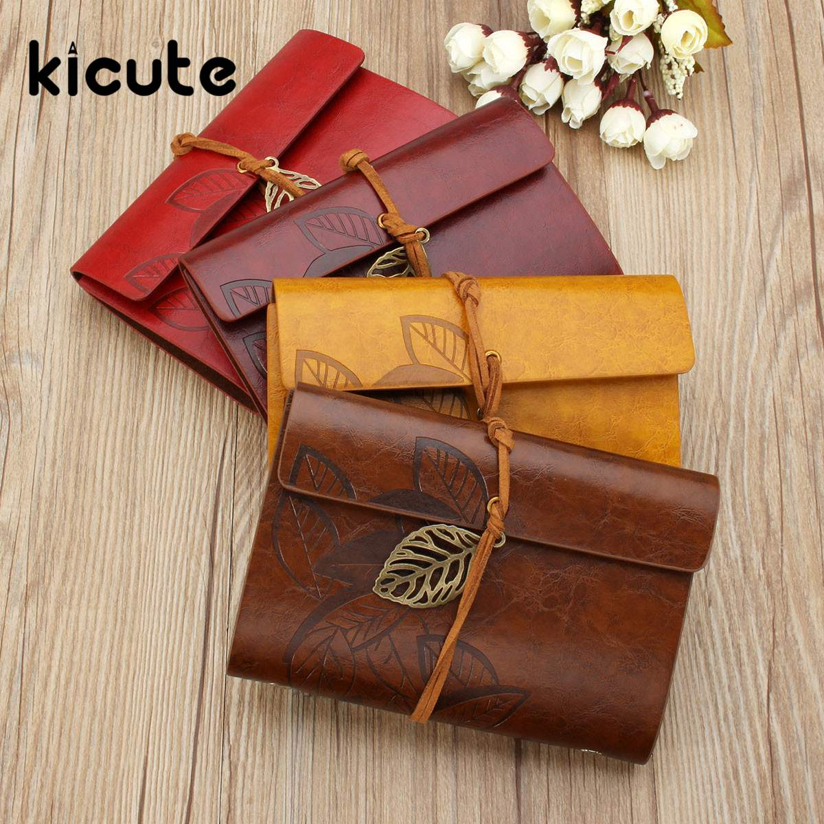 KiCute Sketchbook Stationery Agenda Vintage Diary Notebook Writing Pockets Book Leaf Leather Cover Loose Blank Travel Gift